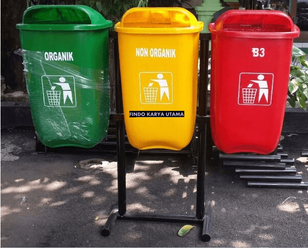 Tong Sampah Outdor Tiga Warna
